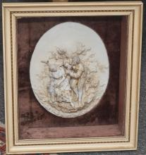 Porcelain plaque in brown velvet lined shadow box; plaque depicting amoristic couple with male playing lute and female with lamb;  1...