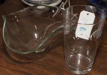 Two items, glass abstract bowl and an etched vase