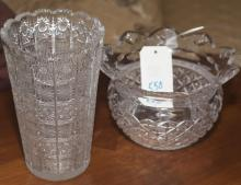 Waterford Crystal bowl with a cut glass vase