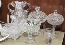 Five pieces of assorted pattern glass, pitcher, three compotes and lidded jar