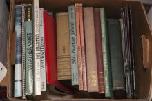 Collection of reference books on needlework, weathervanes, wall treatments, antique tools and more