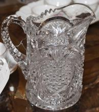 Large pressed glass water pitcher