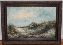 R. Aston, 20th century, Coastal view with sand dunes, oil on canvas, 24 x 36 inches