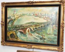 After Kokoschka, London Waterloo Bridge, oil on canvas, 24 x 36 inches
