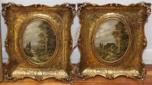 Rogers, 20th century, Pair of Classical landscapes, oil on copper, 9 x 7 inches