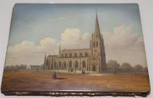 Antique lacquered and hand painted binder depicting Parish Church, titled lower left