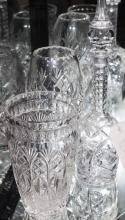 Etched glass decanter with stopper and two hand blown crystal vases