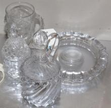 Collection of four items including glass ashtray stamped United States Senate, glass mug with a mermaid, and more