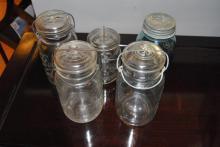 Collection of Ball lidded mason jars, semi-antique.