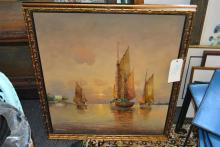 Gilt framed oil on canvas, ships in a harbour
