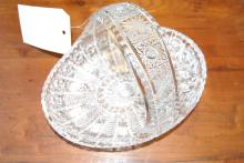 Cut glass bowl in the shape of a basket