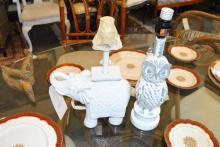 Two table lamps, one owl form the other elephant form