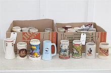 Collection of mugs, including various styles, Balloon race theme, molded animals, Southern Methodist University, etc