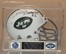 Mini New York Jets hemlet signed by Joe Willy Namath authenticated by Chesterfield Sports Collectibles
