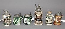 Set of six German ceramic steins