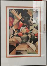 Framed poster print of cubist style Mickey