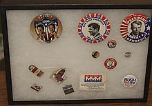 Collection of assorted campaign buttons, Taft, Kennedy's, Hoover Stevenson along with other pins all contained in a shadow box