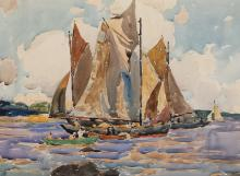 American School, 20th century, Sailboats, watercolor on paper,