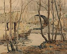 Charles Basing, American (1865-1933), Bridge in park, watercolor on paper,