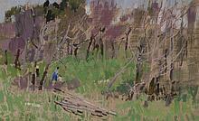 Leon Gaspard, Russian/American (1882-1964), Russian Birches, oil on canvas, 6 1/4 x 10 inches
