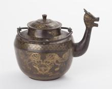 Chinese patinated bronze teapot with dragon-form spout
