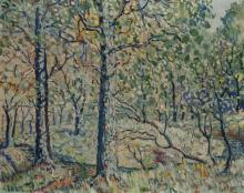 D. P. Boyd, American (20th century), Impressionistic wooded landscape, oil on canvas,