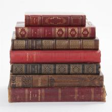 Collection of Seven Rare Antique Hardbound French Books,