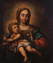 Spanish School, 17th century, Portrait of the Madonna and Child, oil on canvas, lined,