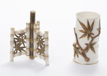 Two Worcester porcelain bamboo vases