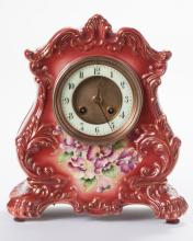 Hand painted pottery mantle clock with French movement
