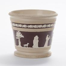 Copeland pottery planter with Classical figural relief
