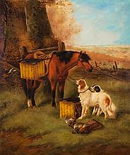 Attr. to Robert Cleminson, British (1844-1903), End of the day, circa 1868, oil on canvas, 33 x 28 inches