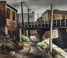 Joe Jones, American (1909-1963), Elevated train in back alley, oil on canvas, 26 x 30 inches