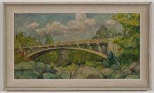 G. Struttmann, American, 20th century, Landscape with bridge, 1955, oil on masonite, 8 x 14 1/4 inches
