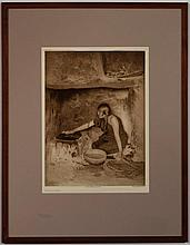 After Edward Curtis, American (1868-1952), The Piki Maker, photogravure, after the 1906 photograph, 15 1/4 x 11 1/4 inches