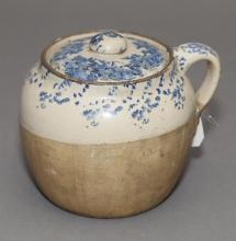 Antique blue spongeware yellowware lidded bean pot, h: 6 1/4 in.