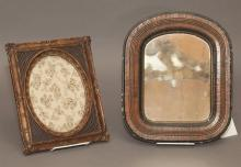 Two antique carved wood frames, one with mirror.