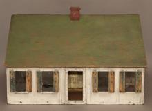 Antique American painted doll house, imperfections.