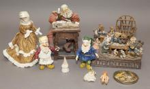 Boyds Bears and Friends figurines, gnomes, dolls, and doll furniture.