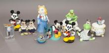 Collection of Muppet and Mickey Mouse memorabilia.