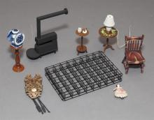 Collection of miniatures for doll house, including side tables, mattress box spring, mounted trout, paskets, dishes, newspapers, boo...