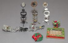 Large collection of dollhouse miniature decorations in two metal chests, christmas items and more.