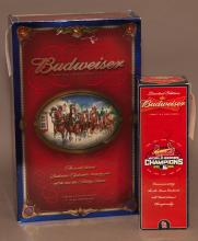 Budweiser limited edition bottle, one quart bottle; with 4 beer glasses; together with St. Louis Cardinals 10th World Series Budweis...