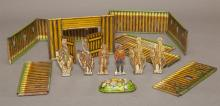 T. Cohn Inc tole FORT SUPERIOR with six rare cut-out tin military figurines,