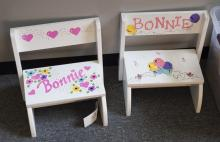 Three pieces, pair of childs folding chairs and a small stool.