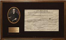 John Quincey Adams, 6th President of The United Sates, 1825-1829 Framed land grant, Warren County Ohio, signed John Quincey Adams da...