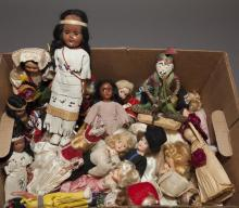 Large collection of vintage dolls with doll clothes