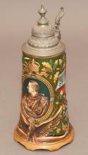 German pottery musical bear stein with relief portrait and Otto von Bismarck verse