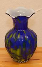Blue and green art glass vase