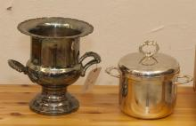 Two pieces of plated silver, wine cooler and ice bucket